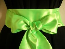"""2.5 X60"""" BRIGHT NEON LIME GREEN SATIN SASH BELT SELF TIE BOW UPDATE PARTY DRESS"""