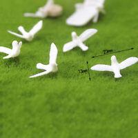 2Pcs 1:12 Dollhouse mini resin white dove simulation animal model toys Nj