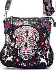 Sugar Skull~Day of the Dead~Stud~Conceal Carry~Crossbody~Purse~Gothic~Punk~Black