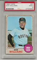 1968 TOPPS #87 DICK WILLIAMS, PSA 9 MINT, SET BREAK- HOF, BOSTON RED SOX, L@@K