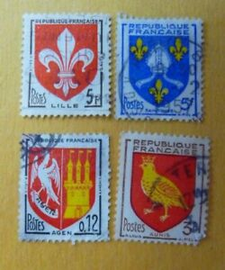 1954 and 1960 French Used coat of arms stamps