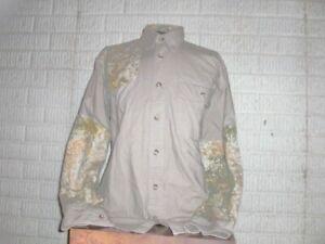 CABELA'S tan camo cotton long sleeve button front shirt men's Medium