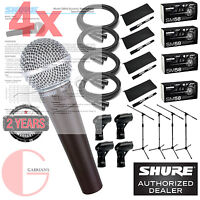 4x Shure SM58 Cardioid Vocal Mic w/ 20ft  XLR Cable and a Mic Stand. GABRIAN'S