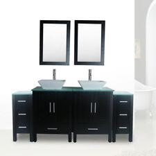"72"" Bathroom Vanity and Sink Combo Double Top Glass Top Black Cabinet w/Mirror"