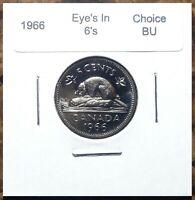 """Canada 1966 Die Chip """"Eyes"""" in 6's Choice BU UNC Variety Nickel!!"""