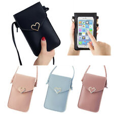 Women Heart Purse Leather Crossbody Shoulder Bag Wallet Case Cell Phone Pouch