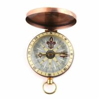 Copper Flip Cover Metal Watch Pocket Compass Camping Hiking Nautical Marine