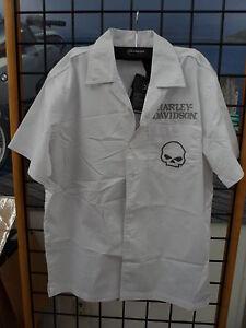 NOS Harley Davidson Mens White Short Sleeve Skull Shirt 99069-12VM