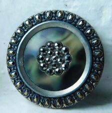 30mm Antique Brass & Celluloid Button~beautiful detail~Green and caramel swirl