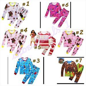 New Kids Long Sleeve Clothing Set Cartoon Moana Maui Pajamas light weight 4T-10