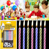 10 pc Magic Relighting Candles Relight Birthday Party Fun Trick Cake for-Ki M5R5