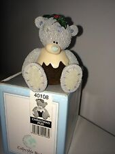 "LARGE 7cm / 3"" HIGH BOXED ME TO YOU FIGURINE TATTY TEDDY BEAR ~ CHRISTMAS PUD"