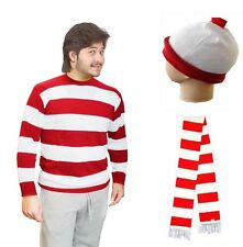 MEN RED & WHITE T-SHIRT GLASSES JUMPER HAT SCARF COMPLETE OUTFIT COSTUME