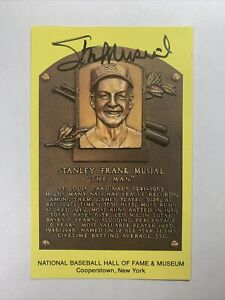 Stan Musial Autographed Baseball Hall of Fame Plaque Postcard Cardinals