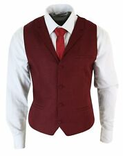 Mens Tweed Herringbone Retro Vintage Tailored Fit Waistoat Collar Smart Casual 42 Wine