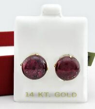GENUINE 23.28 Cts STAR RUBY STUD EARRINGS 14 YELLOW GOLD * New With Tag * 12 mm