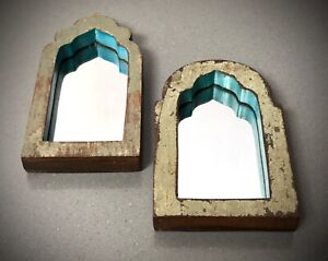 VINTAGE INDIAN MIRRORS,  MUGHAL ARCHED. SMALL PAIR. TWO-TONE PALE SAGE OVER TEAK