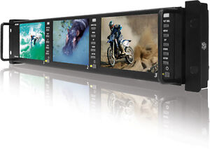 """TVLogic PRM-483A(800x480)-Triple of 4.8"""" LCD rack monitor(2RU),Waveform/vectorsc"""