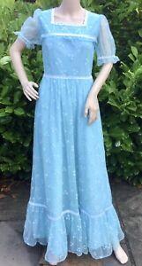 VINTAGE 1970s Blue Flouncy Floral Nylon Edwardian Bridesmaid Dress S