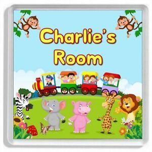 Personalised TOY TRAIN AND JUNGLE ANIMALS Childrens Door Sign / Door Plaque