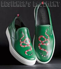 GUCCI men 9G green Leather red SNAKE DUBLIN slip on sneakers NIB Authentic $670!