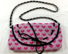 Handbag Purse Heart Print 12 Inch Long Chair Strap Leather like Trim Beautiful