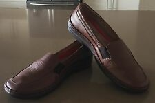 "Pre-owned GROSBY Tan Leather ""Cara"" Slip On Loafer Shoes Size 10"
