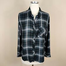 Rails M Medium Button Up Plaid Shirt Long Sleeves Black White Gray Plaid