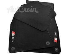 Audi A4 B7 2005-2007 Black Floor Mats With Sline Logo With Clips LHD Side EU
