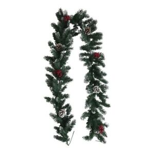 Red Berry Pine Cone Snowy Christmas Garland Fireplaces Staircase 185 cm /  6'