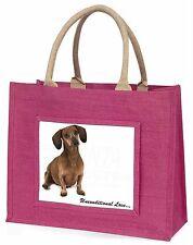 Dachshund Dog 'Unconditional Love' Large Pink Shopping Bag Christma, AD-DU36uBLP