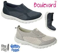 LADIES Light Slip On Padded Trainers Casual Shoes - Navy Grey Size 3 4 5 6 7 8 9