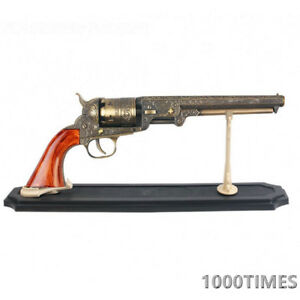 Western Cowboy Black Powder Outlaw Revolver Pistol Replica Gun w/ Stand-TAN