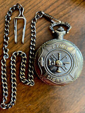 Fire Fighter Quartz Pocket Watch & Chain Like New in Box