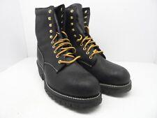 "Mason Men's 8"" Logger Leather Comp Toe Leather Boot Black Size 12 3E"