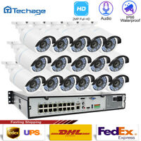 16CH Night Vision 2MP POE NVR 1080P Audio Recording Home Camera Security System