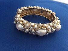 Kenneth Jay Lane Vintage Pearl Clamper Bracelet Bangle signed Kenneth Lane