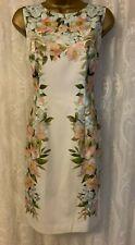 Mujer Hobbs Fiona Marfil Estampado de Flores Lápiz Drapeado Ocasión Elegante 10