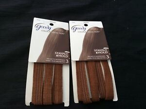 2 packs of 3 Goody Colour Collection Stayput Hold Brunette Headbands Brand New