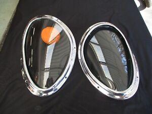 Vintage Jaguar XKE XK E Type Factory Orig 1964 Headlight Glass Covers & Bezels