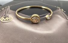 New Michael Kors Crystal MK Logo Gold tone Open Cuff Bangle Bracelet