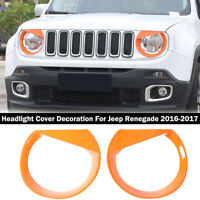 Front Light Headlight Lamp Angry Eyes Trim Cover For Jeep Renegade 2016-2018 ABS