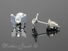 Womens Earrings Boys Mens Studs Silver Stainless Steel Butterfly Ladies Girls