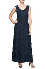 NWT! Alex Evenings Rosette Lace Gown Navy Blue [ SZ 16 ] #G147