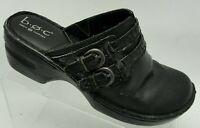 BOC Born Concepts Size 8M Wedge Clogs Mules Slides Black Leather Buckle Shoe