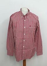 BNWT TIMBERLAND Men's Red & White Checked Long Sleeve Collared Buttoned Shirt S