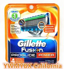 gillette fusion proglide Power Razor blades 4pack, Brand New 100%AUTHENTIC, #002