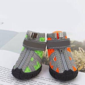 4Pcs Dog Shoes Reflective Breathable Zipper Closure Puppy Sport Boots Anti-slip