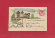 Chateau Frontenac 1908 CPR railway post card with receiver from Canada