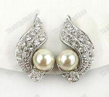 Clip on Art Deco Style Pearl&crystal Silver Earrings